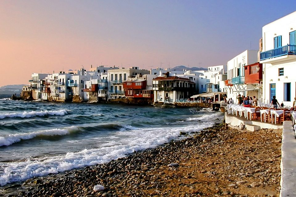 una spiaggia dei Viaggi di Maturità a Mikonos